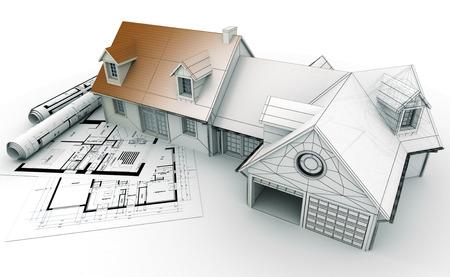 Rendição 3D de um projeto de casa em cima de plantas, mostrando diferentes fases de concepção