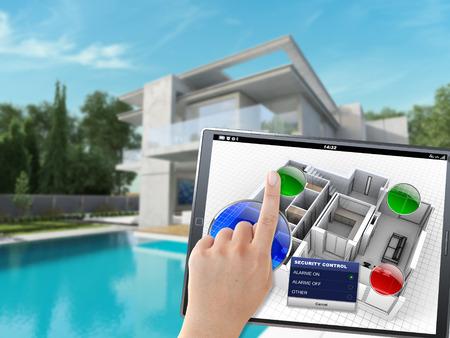 panel de control: Representación 3D de una villa siendo controlado remotamente por una persona con un dispositivo móvil
