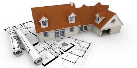 청사진의 위에 집의 3D 렌더링