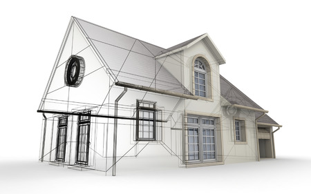 3D rendering of a house project, showing different design stages Stock Photo