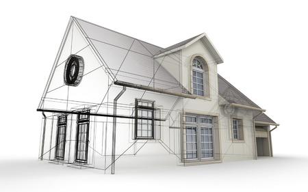 Rendu 3D d'un projet de maison, montrant les différentes étapes de la conception Banque d'images - 39561086