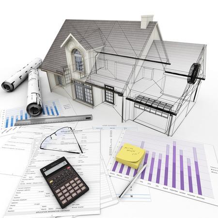 건축 주택 3D 모기지 신청 양식, 계산기, 청사진 등이있는 테이블 위에 모델을 렌더링 .. 스톡 콘텐츠