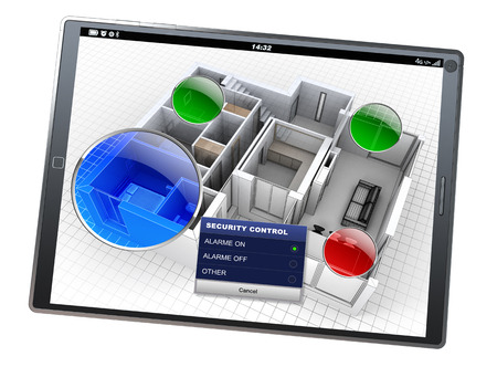 alarm system: 3D rendering of a house with a monitoring tablet app