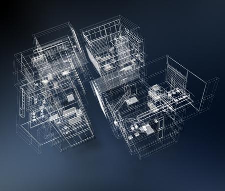 3D rendering of a transparent building against a blue background Foto de archivo