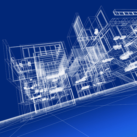 architecture project: 3D rendering of a transparent building against a blue background Stock Photo
