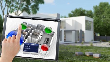 人によってモバイル デバイスをリモートで制御されている村の 3 D レンダリング 写真素材
