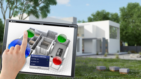3D rendering of a village being controlled remotely by a person with a mobile device Stock Photo