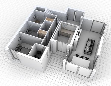 3D-Rendering von einer Wohnung Luftaufnahme Standard-Bild - 39637578