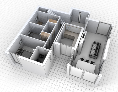 3D rendering of an apartment aerial view