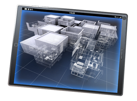 home office interior: 3D rendering of a tablet pc With an architecture model partly finished and partly With wireframe