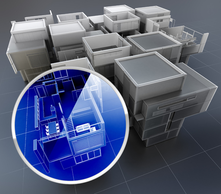 transparent system: 3D rendering of building monitoring concepts