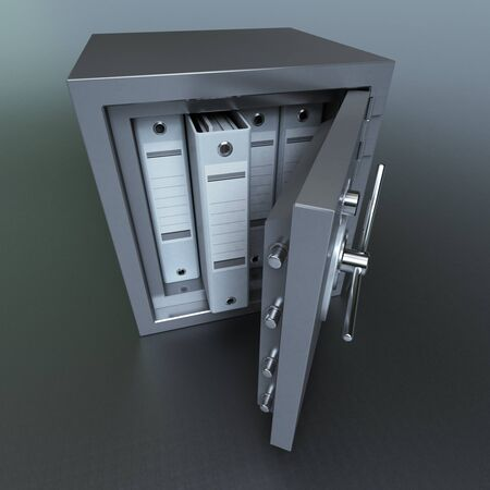 ring binders: 3D rendering of ring binders on a safe deposit box Stock Photo