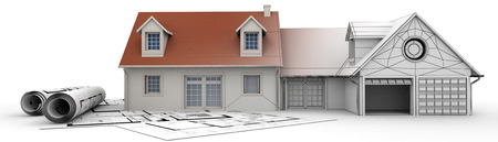 decor residential: 3D rendering of a house project on top of blueprints showing different design stages