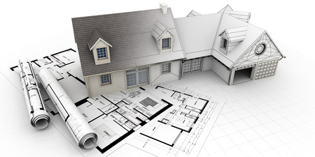 3D rendering of a house project on top of blueprints showing different design stages