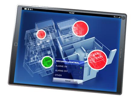 홈 보안 모니터링 응용 프로그램과 태블릿 PC의 3D 렌더링 스톡 콘텐츠