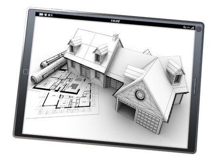architecture model: 3D rendering of a tablet pc with a house artificial model on top of blueprints