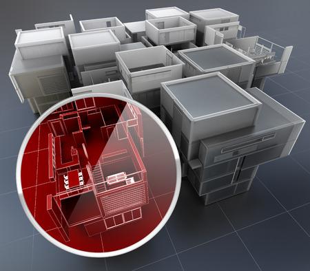 모니터링 개념을 건물의 3D 렌더링 스톡 콘텐츠