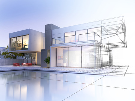 building: 3D rendering of a luxurious villa with contrasting realistic rendering and wireframe