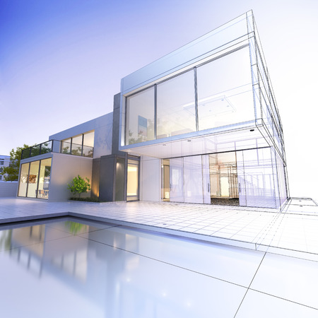 3D-Rendering von einer luxuriösen Villa mit kontras realistische Wiedergabe und Drahtmodell- Standard-Bild - 39687897