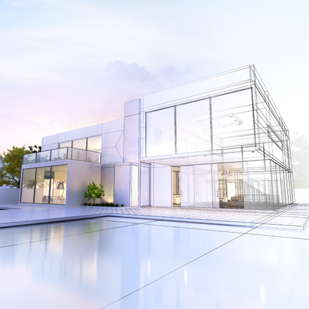 house property: 3D rendering of a luxurious villa with contrasting realistic rendering and wireframe