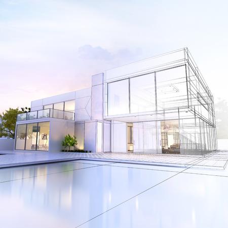 construccion: Representaci�n 3D de una villa de lujo en contraste con la representaci�n realista y de armaz�n