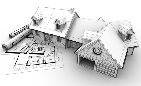 dibujo tecnico: Representación 3D de un proyecto de la casa en la parte superior de planos, mostrando diferentes etapas de diseño Foto de archivo