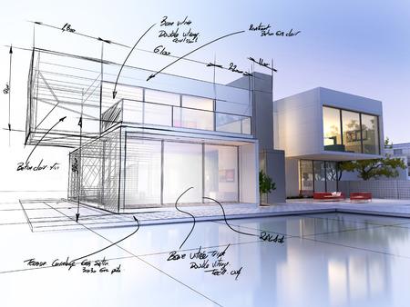 dibujo tecnico: Representaci�n 3D de una villa de lujo en contraste con un proyecto de la parte t�cnica Foto de archivo