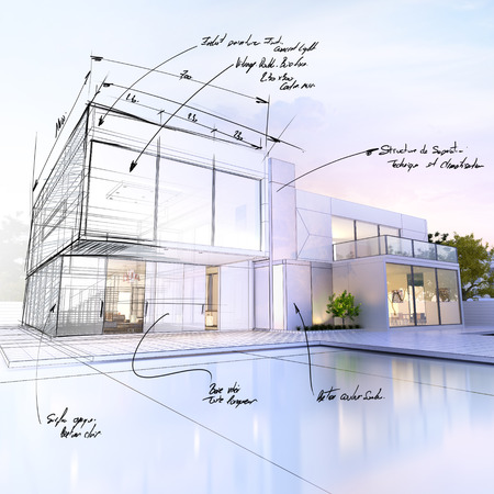 contrasting: 3D rendering of a luxurious villa contrasting with a technical draft part