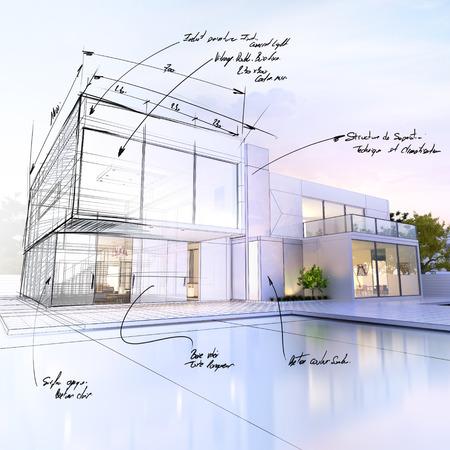 3D-Rendering von einer luxuriösen Villa im Gegensatz zu einem technischen Entwurf Teil Standard-Bild - 39687902