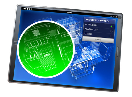 detection: 3D rendering of a tablet pc with a home security control app