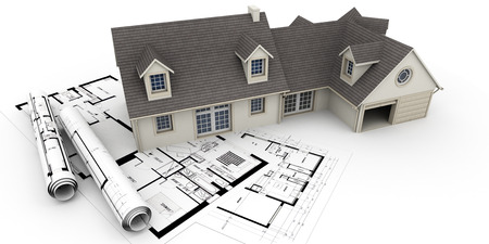 3D rendering of a house on top of blueprints