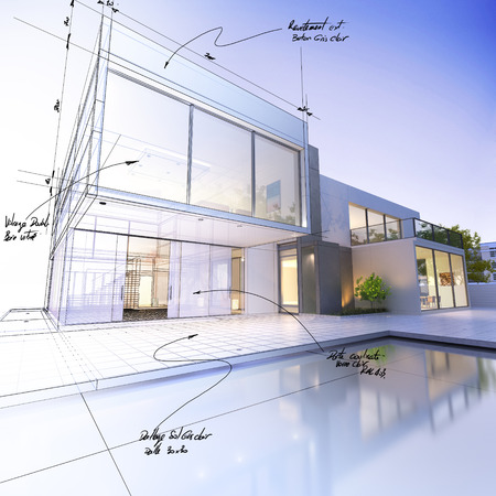house blueprint: 3D rendering of a luxurious villa contrasting with a technical draft part