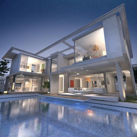 3D-Rendering von einer beeindruckenden offene Villa mit Pool Standard-Bild - 40154630