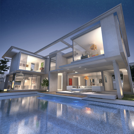 3D rendering of an impressive open villa with pool