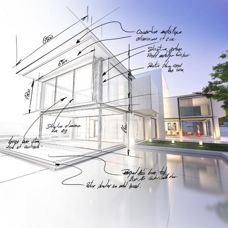 技術的な草案部分と対照的な豪華なヴィラの 3 D レンダリング