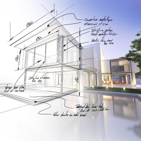 blueprint house: 3D rendering of a luxurious villa contrasting with a technical draft part