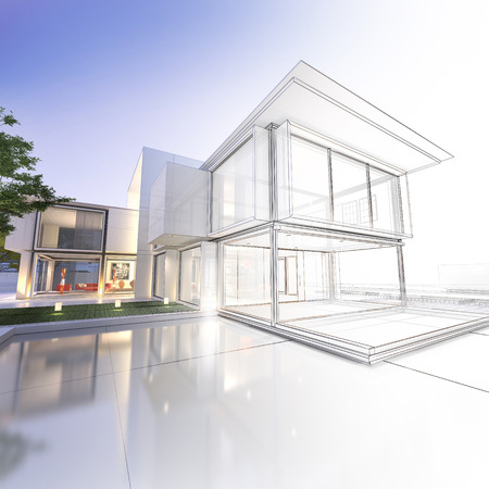residential: 3D rendering of a luxurious villa with contrasting realistic rendering and wireframe