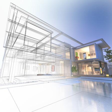 Rendição 3D de uma vivenda de luxo com contrastantes renderização realista e wireframe