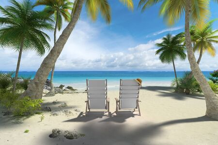 reclining chair: 3D rendering of a couple of reclining chairs on the beach Stock Photo