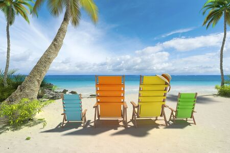 reclining chair: 3D rendering of four chairs in big and small size on the beach Stock Photo