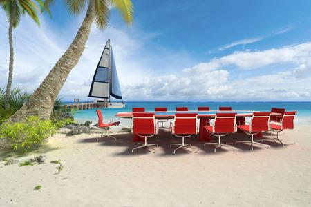 열 대 해변에서 회의 테이블의 3D 렌더링 스톡 콘텐츠