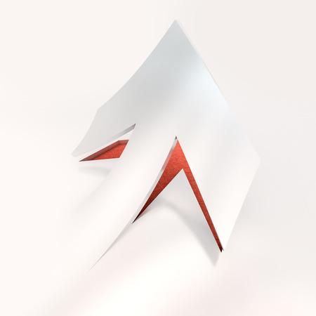 ritagliare: Rendering 3D di una freccia di carta ritagliato in rosso e bianco