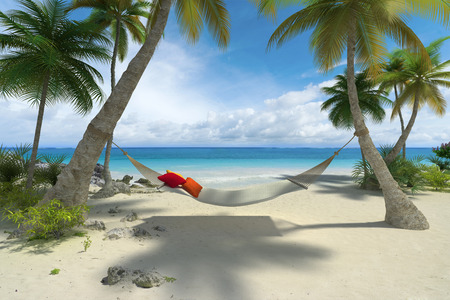3D rendering of a hammock hanging from palm trees on a tropical beach