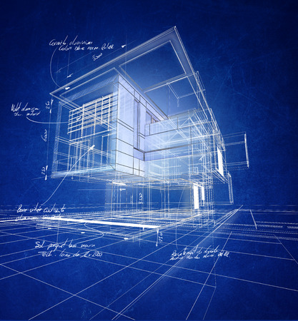 Technical 3D wireframe rendering of a modern villa