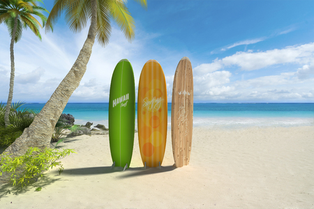 3D rendering of three colorful surf boards on a tropical beach Stockfoto