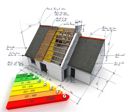 reform: 3D rendering of a house in construction, on top of blueprints, with an energy efficiency rating chart