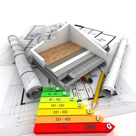 subflooring: 3D rendering of a house cross section, blueprints and an energy efficiency chart