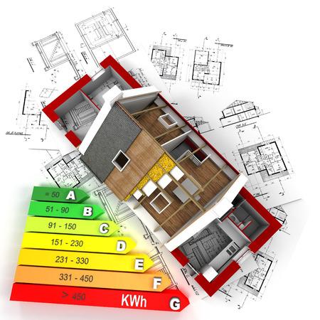 3D 에너지 효율 등급 차트, 청사진 위에 건설에 집의 렌더링