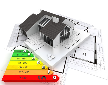 reform: 3d rendering of a house on top of blueprints and a energy efficiency chart