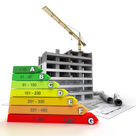 unfinished: 3D rendering of a building in construction , with a crane and an energy efficiency rating chart